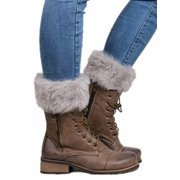 Multitrust Womens Winter Knitted Boot Cuffs Fur Knit Toppers Boot Socks Legs Warmers