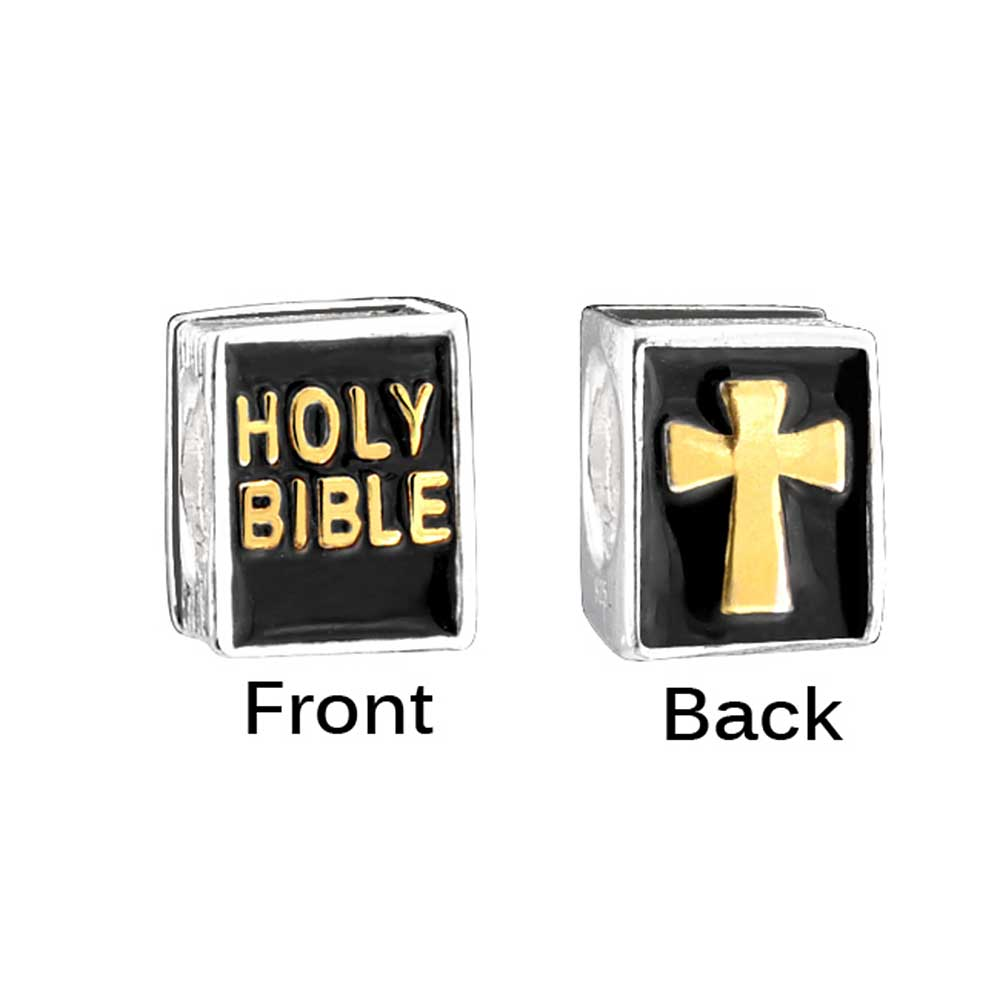 Bling Jewelry Holy Bible Cross Gold Plated 925 Silver Bead Fits Pandora Charm