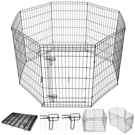 "Yescom 36"" Tall Pet Dog Playpen Foldable Metal Exercise Fence Cage Kennel with Door 8 Panel Outdoor Indoor"