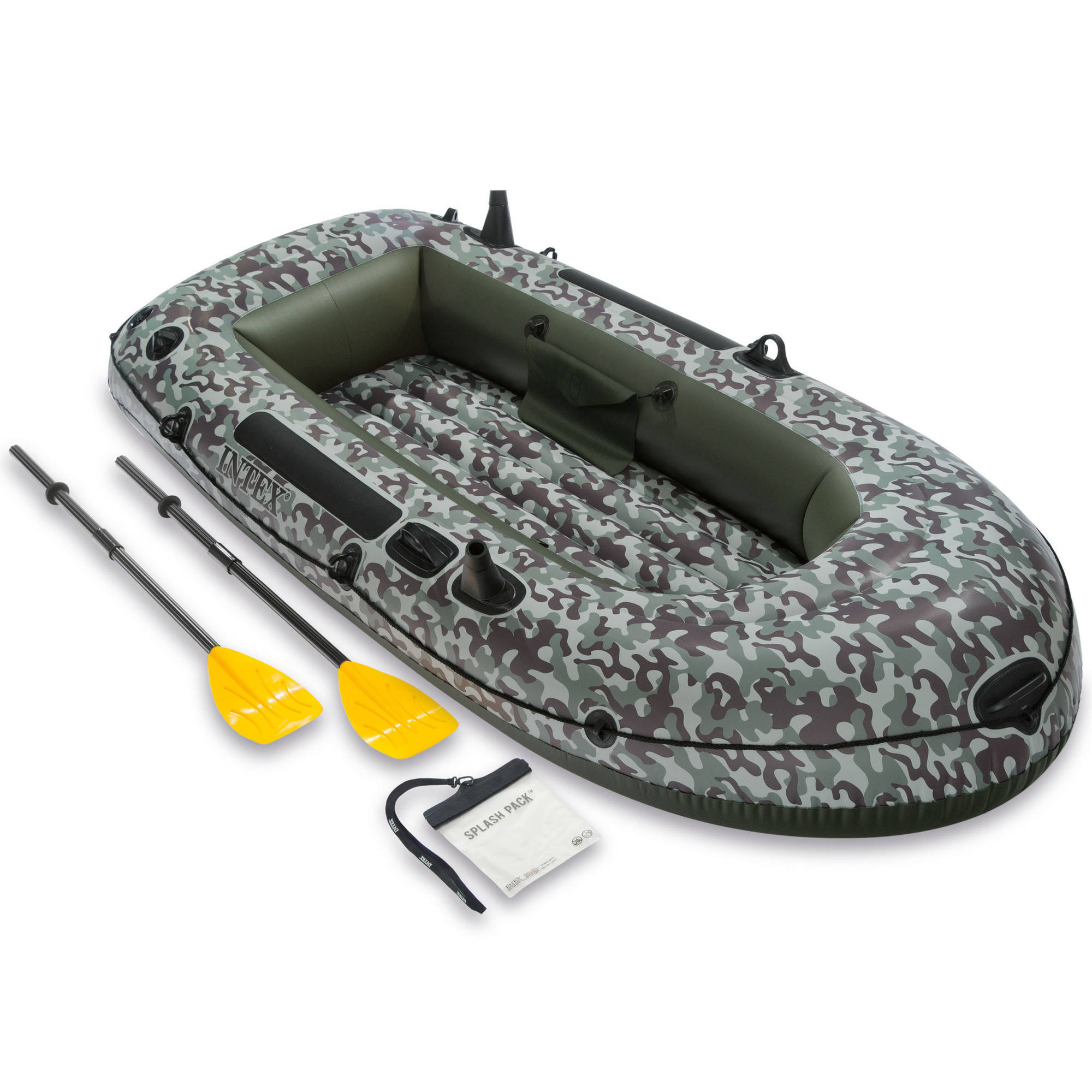 Intex Inflatable Camo Seahawk 2 Two-Person Boat with Oars and Pump, Green