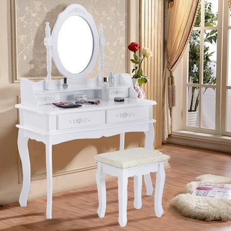 Vanity Table Costway White Jewelry Makeup Dressing Set Bathroom W Stool 4