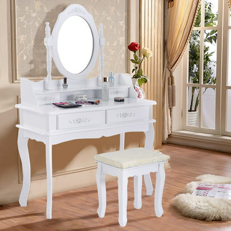 Costway white vanity jewelry makeup dressing table set for White makeup desk with mirror
