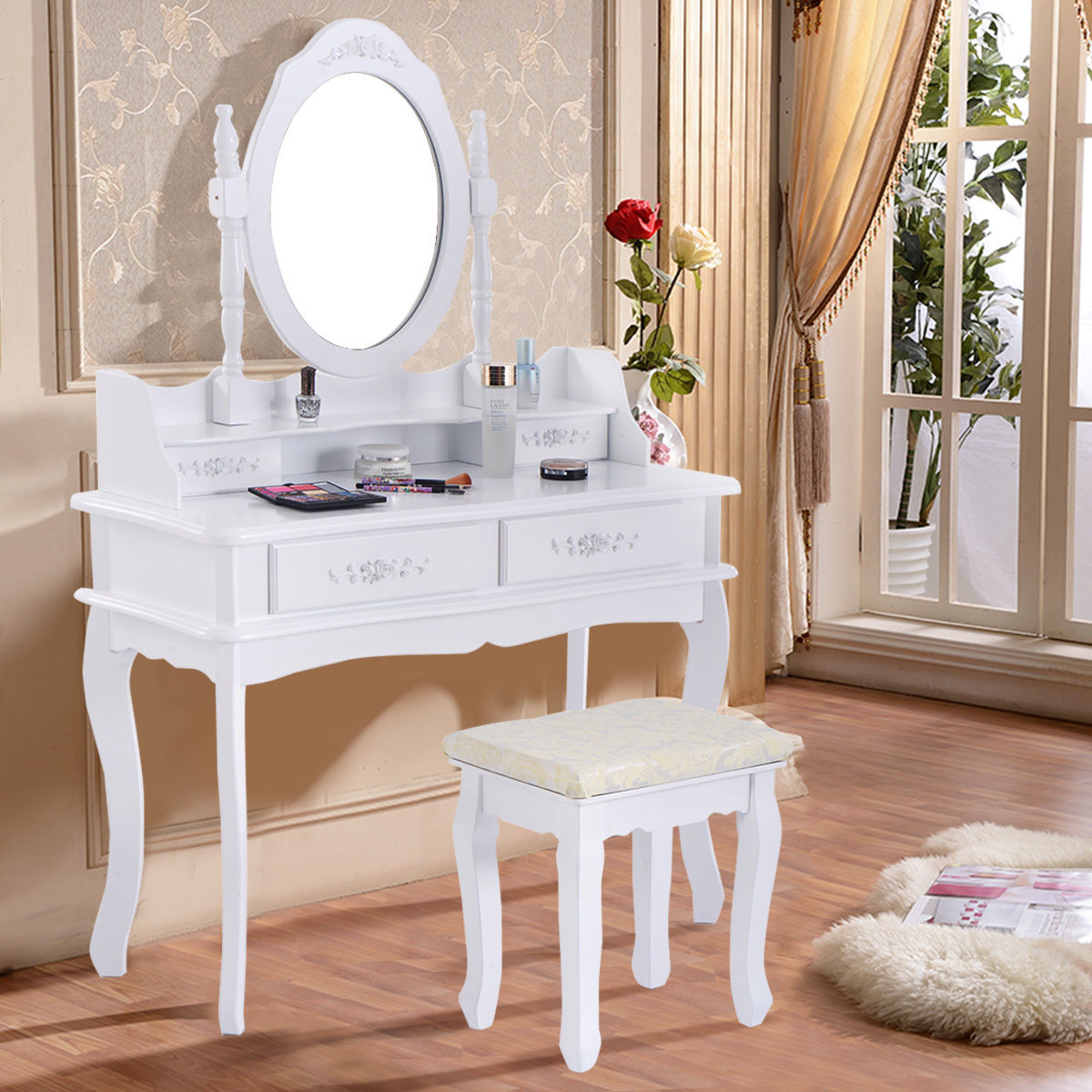 Costway White Vanity Jewelry Makeup Dressing Table Set Bathroom W/Stool 4  Drawer Mirror Wood