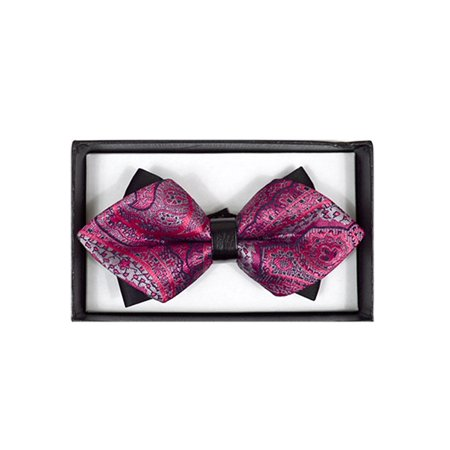 Men's Hot Pink Paisley Diamond Tip Bow Tie - - Hot Pink Bow Tie