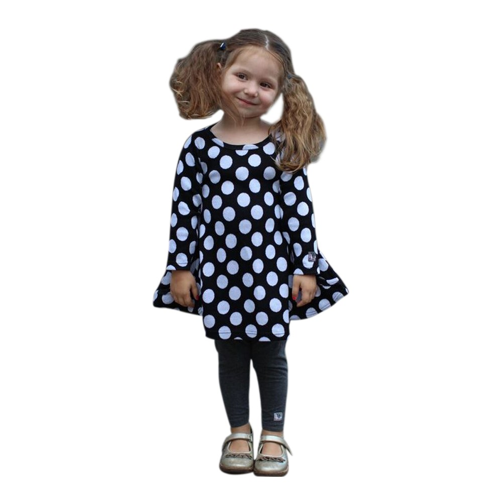 WonderLand Little Girls Black White Polka Dot Diamond Sha...