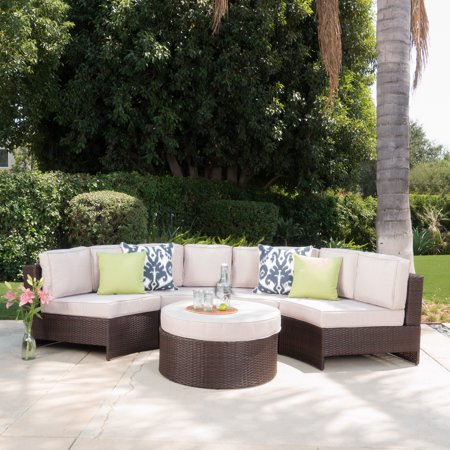 Astonishing Sinclair 5 Piece Outdoor Wicker 1 2 Round Seating Set With Ottoman And Cusions Brown Beige Walmart Com Creativecarmelina Interior Chair Design Creativecarmelinacom