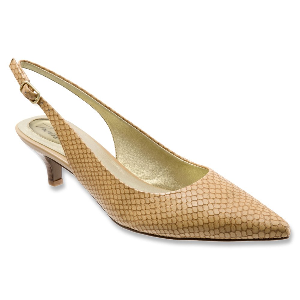 Trotters New Beige Prima Shoes Size 6N Slingbacks Leather Heels by Trotters
