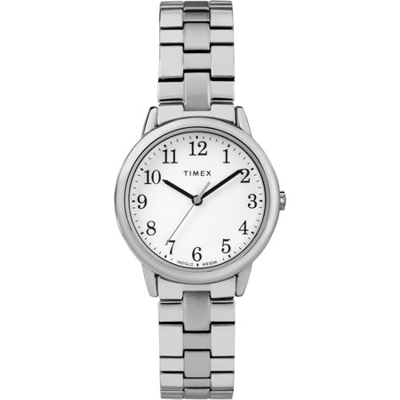 Women's Easy Reader Small Silver-Tone/White Watch, Stainless Steel Expansion Band - Watch Grave Halloween Online