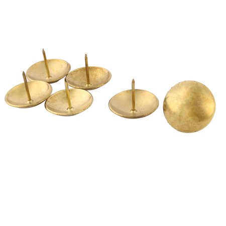 Metal Furniture Desk Desktop Hat Pushpin Tack Nail Gold Tone 30mm Dia 6 Pcs