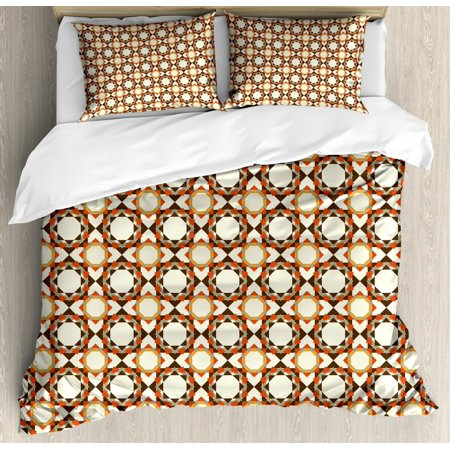 Geometric Duvet Cover Set Floral Pattern In Soft Colors With