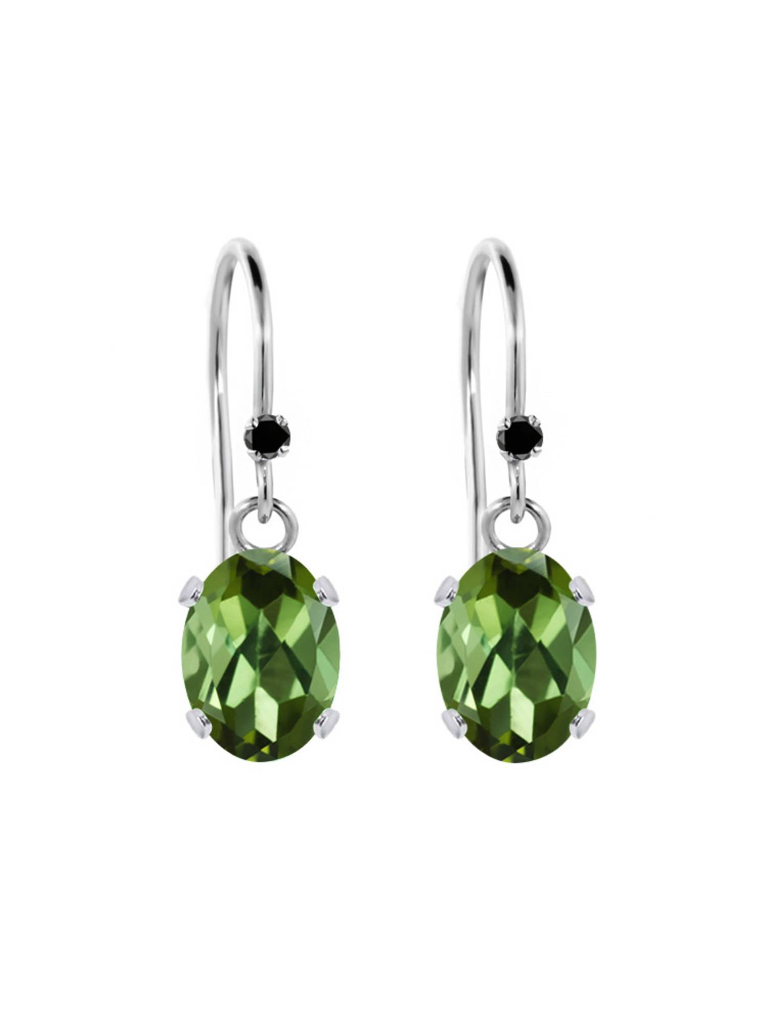 1.72 Ct Oval Green Tourmaline Black Diamond 925 Sterling Silver Earrings by