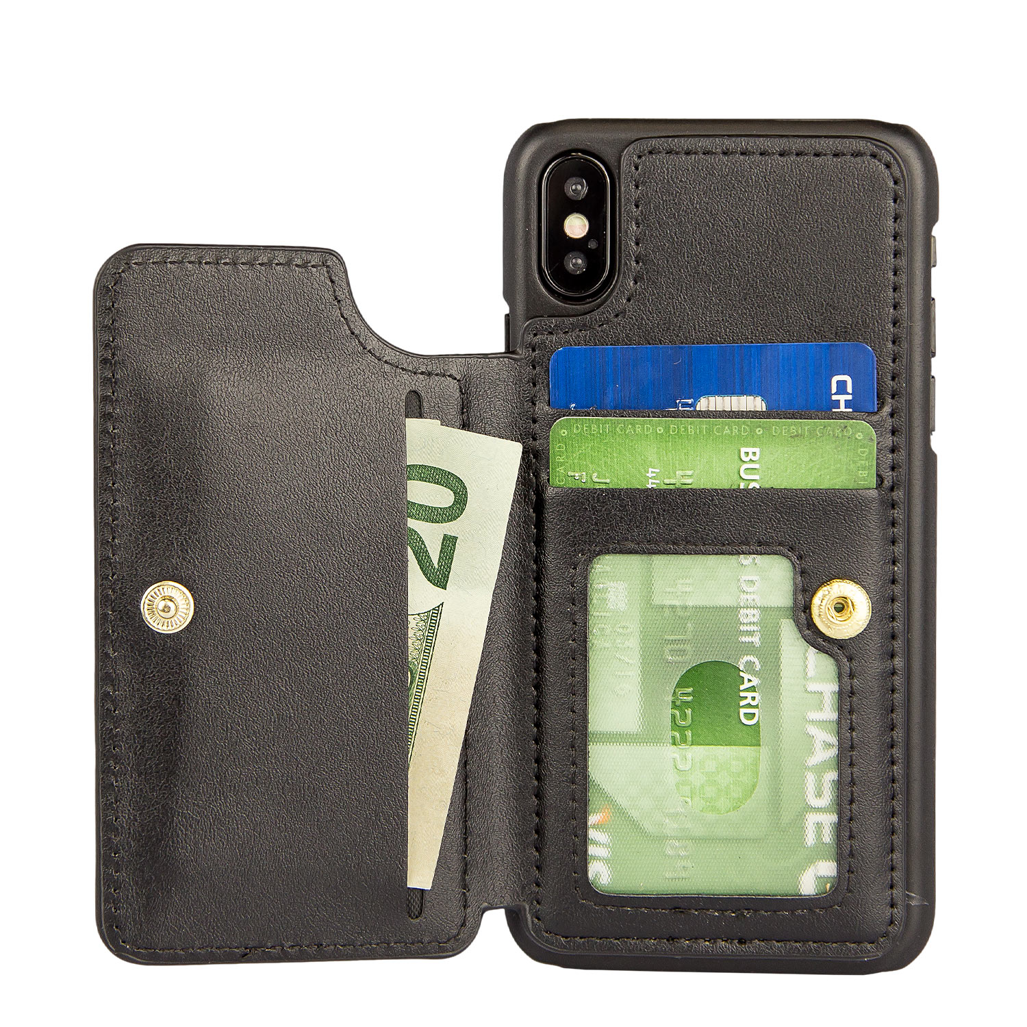 new products 1e16c 90b1f iPhone X Case - Zizo Premium Wallet Case with PC and Wallet Back [ All In  One Slim Leather Folio] with ID Card Slots and Snap Closure