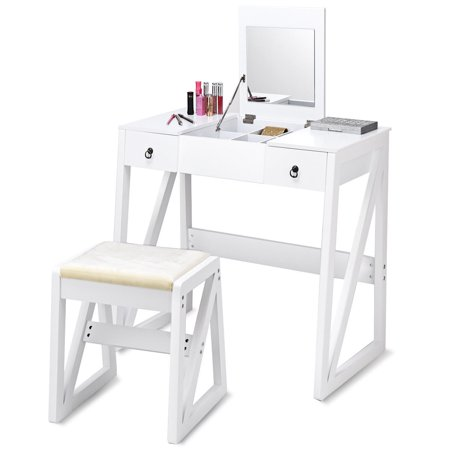 Gymax White Makeup Dressing Table Set Vanity Writing Desk with 2 Drawers with Cushioned Stool