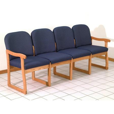 Wooden Mallet DW8-4 Solid Oak Sled Base 4-Seat Sofa
