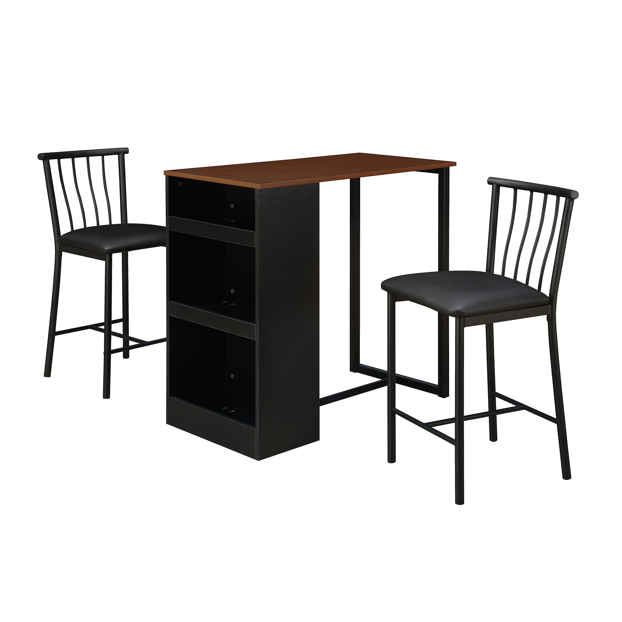 dorel living isla 3 piece counter height dining set with storage