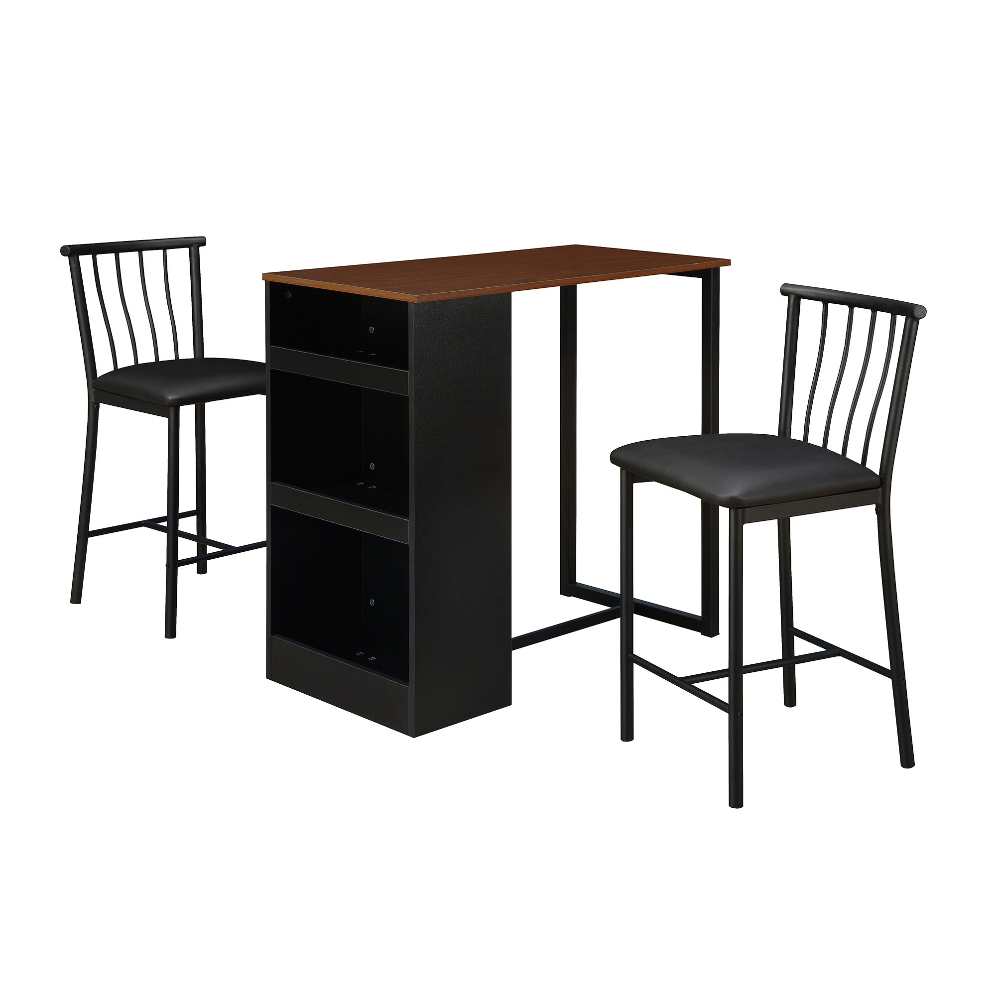 dorel living isla 3piece counter height dining set with storage espresso walmartcom