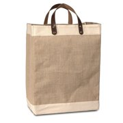 "Eco-Friendly Jute Tote Bag with Cotton Accents & Leather Handles 13""W x 17""H x 8"" Gusset - CarryGreen Bag"