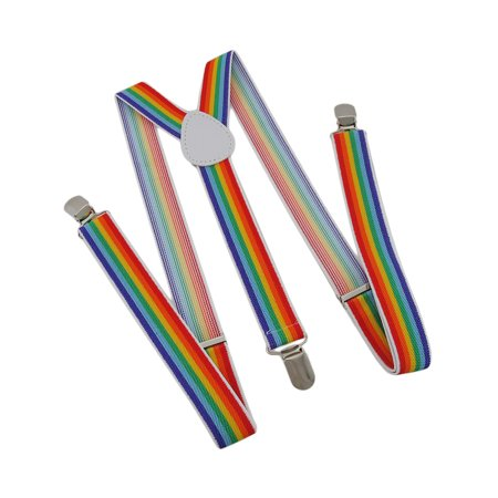 Vertical Rainbow Striped Elastic Suspenders Braces - Rainbow Suspenders