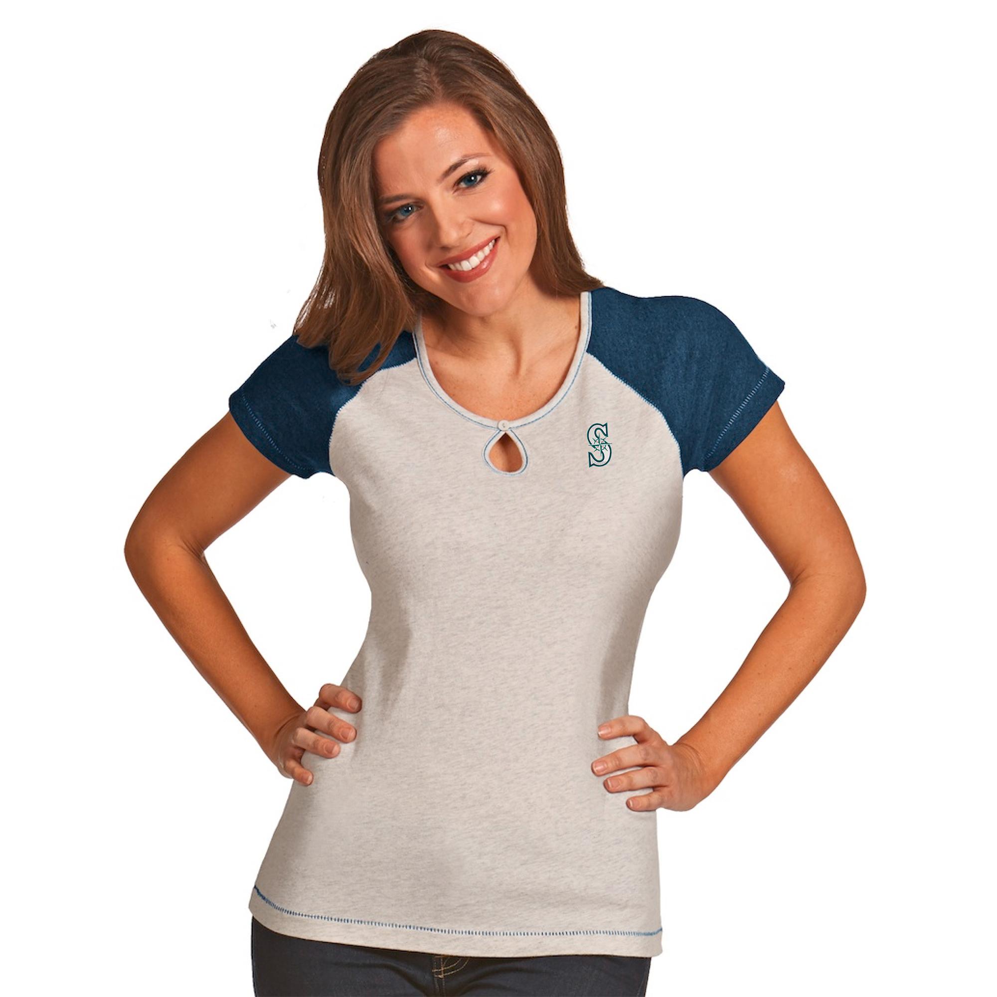 Seattle Mariners Antigua Women's Crush T-Shirt - White/Heather Navy