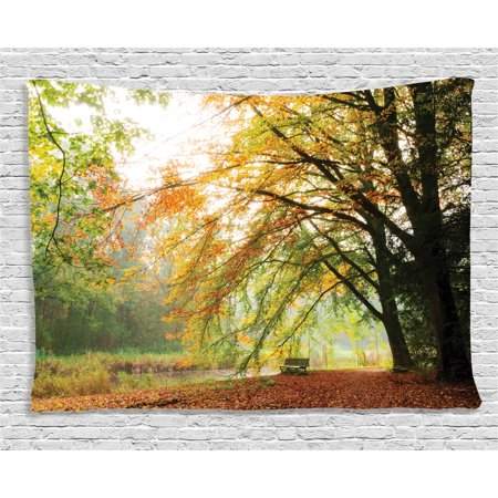 Farm House Decor Tapestry, Autumn View Forest with Faded Leaves European Northern Dutch Fall Image, Wall Hanging for Bedroom Living Room Dorm Decor, 80W X 60L Inches, Orange Green, by Ambesonne ()