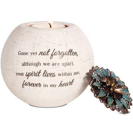 Pavilion Gift Company- Memorial Round Candle Holder, 4 Inch Candle Terra Cotta Jar