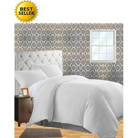 Comfort Linen - Celine Linen Wrinkle & Fade Resistant 3-Piece Duvet Cover Set -, 1500 Series 100% HypoAllergenic - Silky Soft, Full/Queen, White