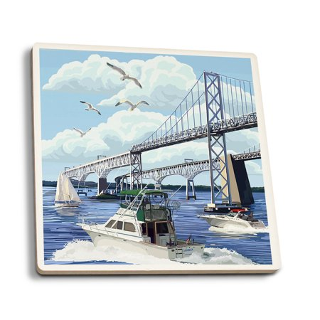 Sailing Chesapeake Bay - Maryland - Chesapeake Bay Bridge - Lantern Press Artwork (Set of 4 Ceramic Coasters - Cork-backed, Absorbent)