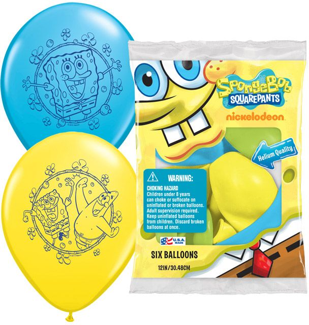 "SpongeBob 12"" Latex Balloons (6 Pack) - Party Supplies"