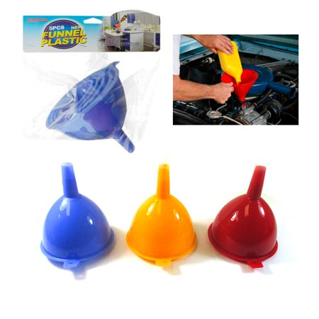 Filling Funnels - 5 Pc Funnel Set Plastic Filling Auto Oil Water Lab Home Kitchen Car Tool Sizes