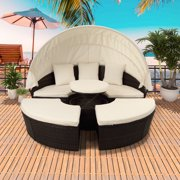 Patio Furniture Sets, 5 Piece Outdoor Round Wicker Daybed with Retractable Canopy, All-Weather Outdoor Patio Sectional Sofa Conversation Set with Cushions for Backyard, Porch, Garden, Poolside, L3521