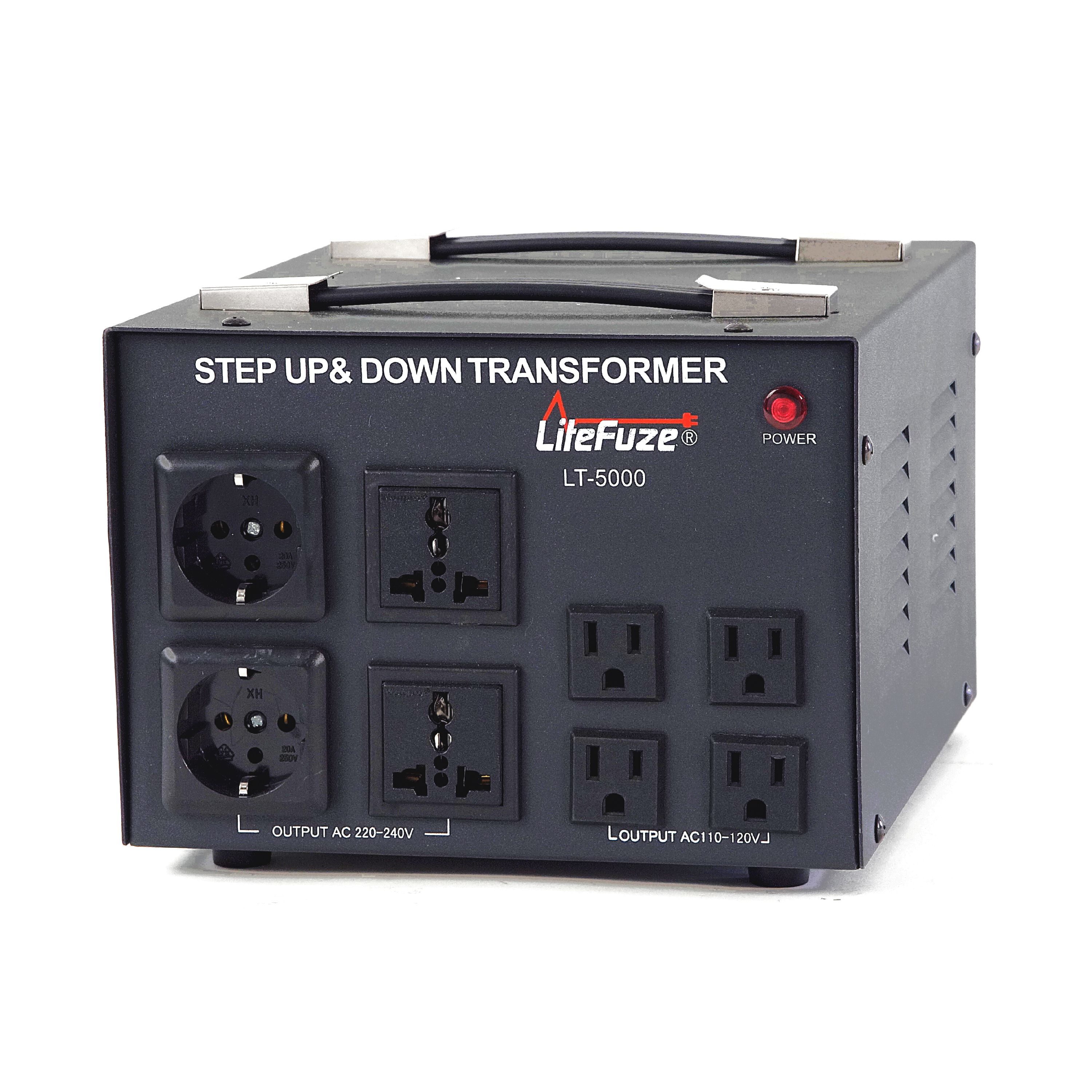 LiteFuze LT-5000 5000 Watt Voltage Converter Transformer - Step Up/Down - 110V/220V - Circuit Breaker Protection