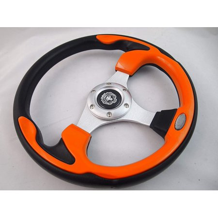 New World Motoring YAMAHA GOLF CART & POLARIS RHINO steering wheel W/ Chrome Adapter 3 spoke (Rhino Steering Wheel)