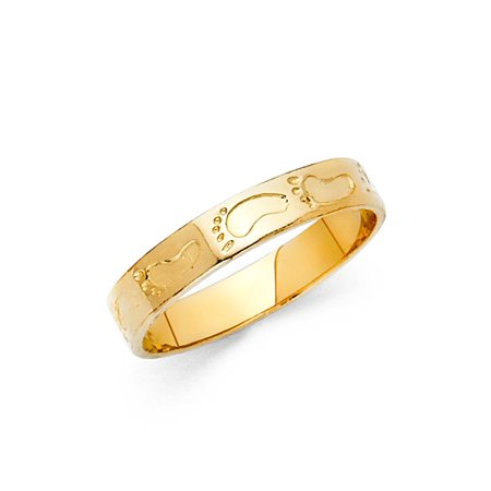 Ladies 14K Solid Yellow Gold Footprints Fancy Ring, Size 4.5 (Yellow Gold Fancy Ring)