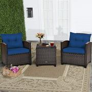 3PCS Patio Rattan Furniture Set Cushioned Conversation Set Coffee Table Navy