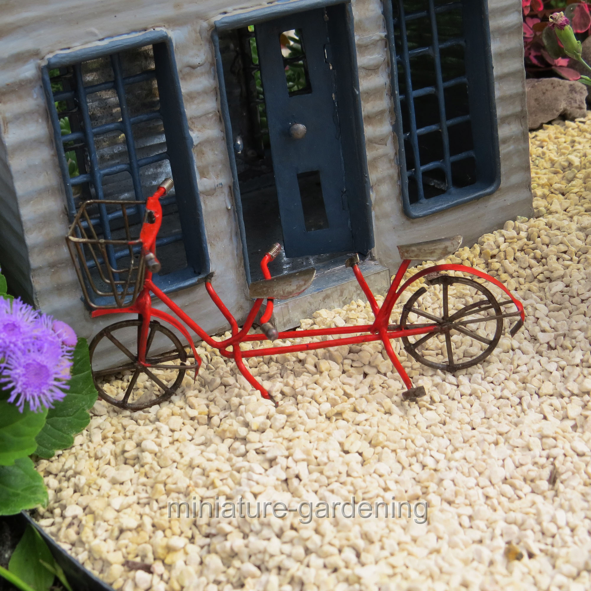 Jeremie Tandem Bicycle, Red for Miniature Garden, Fairy Garden
