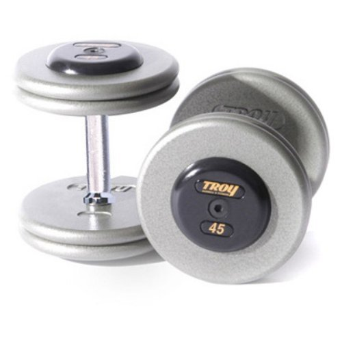 Troy Barbell Fixed Pro-Style Dumbbells - Straight Handle with Rubber End Cap