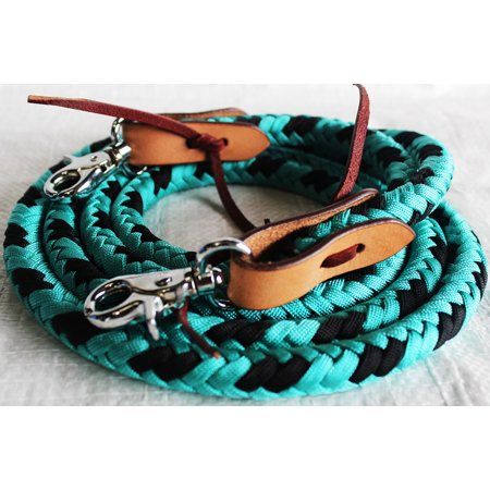 Horse Roping Tack Western Barrel Reins Nylon Braided Leather Turquoise 607230
