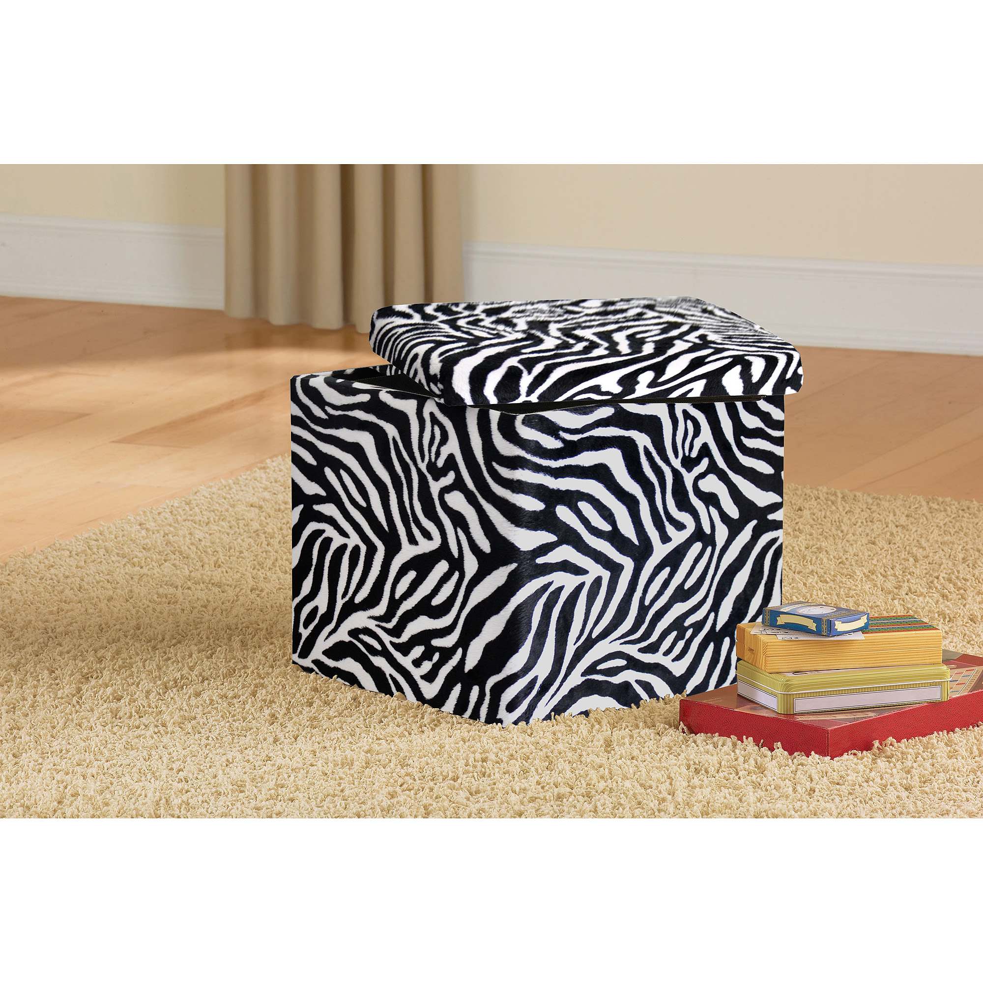 Urban Shop Storage Animal Print Plush Ottoman, Multiple Colors