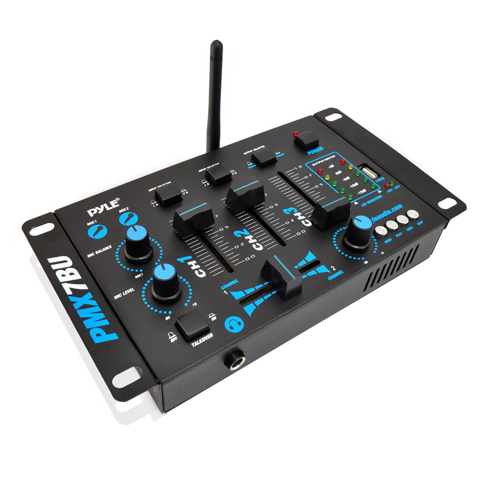 BT 3-Channel DJ MP3 Mixer, Mic-Talkover, USB Flash Reader, Dual RCA and Microphone Inputs, Headphone Jack
