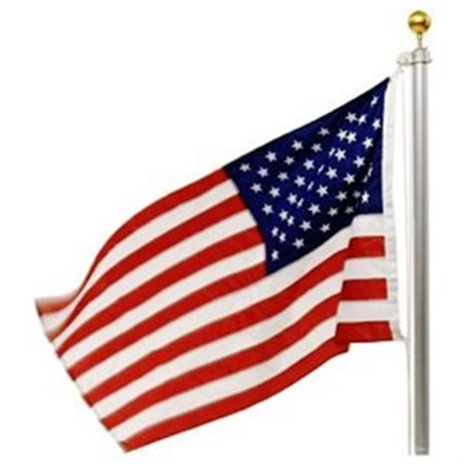IBOT EC13302-20feet Deluxe 20 Feet Flagpole Aluminum 3 x 5 in. Embroidered US Flag Brass Grommets