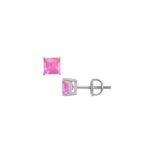 Fine Jewelry Vault SCERSQ600PSW Pink Sapphire Stud Earrings - 14K White Gold - 2. 00 CT TGW