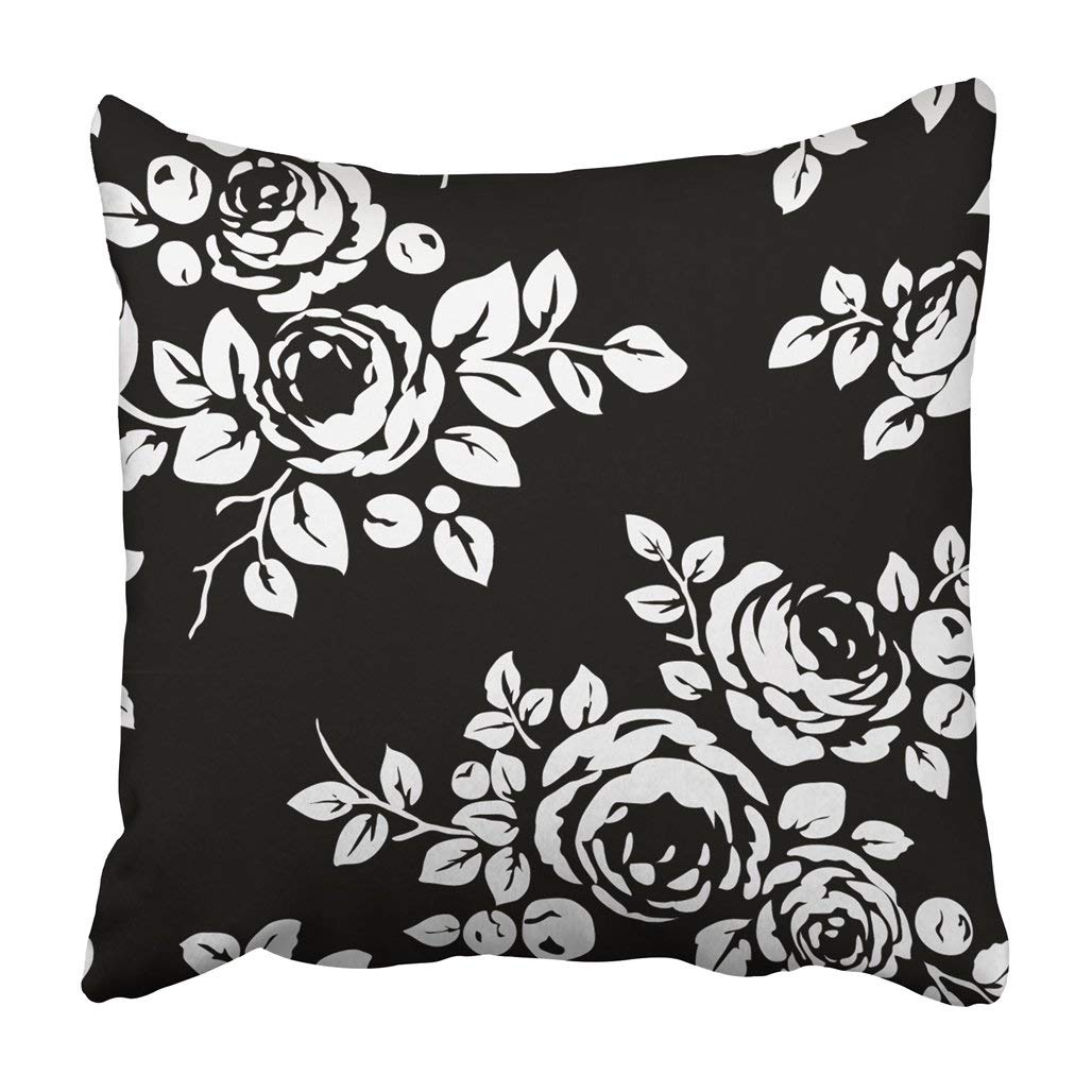 BPBOP White Floral Vintage Pattern With Flowers Black Monochrome With Silhouettes Rose Leaf Pillowcase 20x20 inch