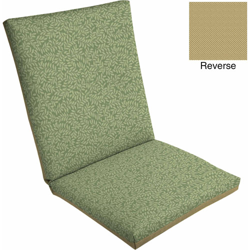 Mainstays Outdoor Dining Chair Cushion, Green Leaf