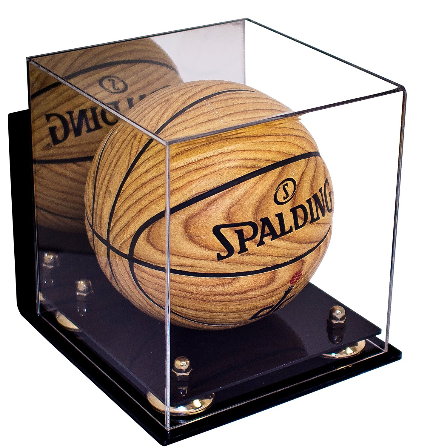 Deluxe Acrylic MINI - Miniature (not full size) Basketball Display Case with Gold Risers Mirror and Wall Mount (A015-GR)