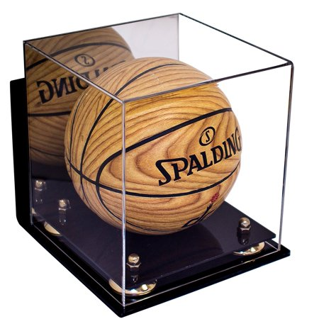 Miniature Football Display - Deluxe Acrylic MINI - Miniature (not full size) Basketball Display Case with Gold Risers Mirror and Wall Mount (A015-GR)