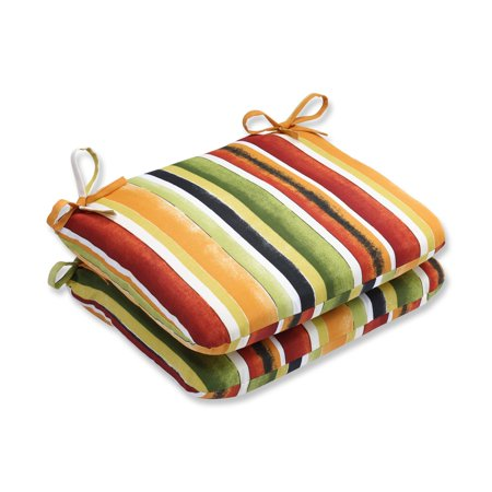 Pillow Perfect Outdoor/ Indoor Dina Noir Rounded Corners Seat Cushion (Set of 2)
