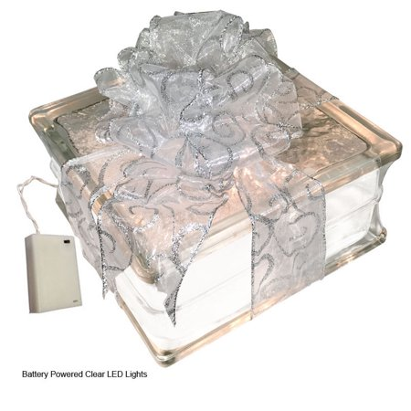 """Battery Powered LED Lighted Glass Block with 4"""" White Border - Sheer White with Silver Swirls Ribbon"""