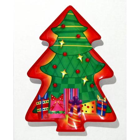 Tree Shape Plate w Christmas Tree 12.75 in Serving Platter, Orange Green