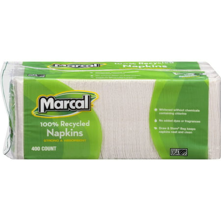 Marcal, MRC6506CT, 100% Recycled Luncheon Napkins, 2400 / Carton, White Recycled Paper Napkins