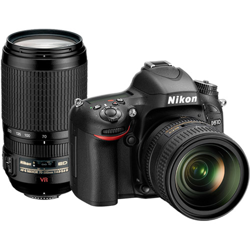 Nikon Black D610 DSLR Camera with 24.3 Megapixels and 24-85mm and 70-300 Lenses Included